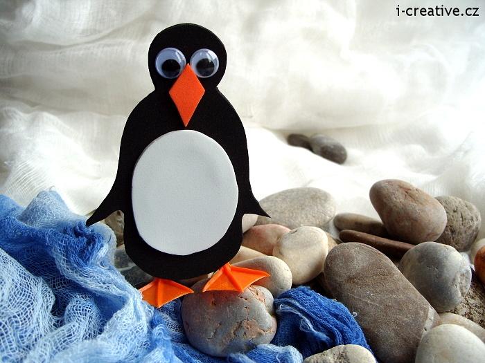 Penguin - winter crafts for kids. Tučňák z moosgummi  - zimní tvoření pro děti.