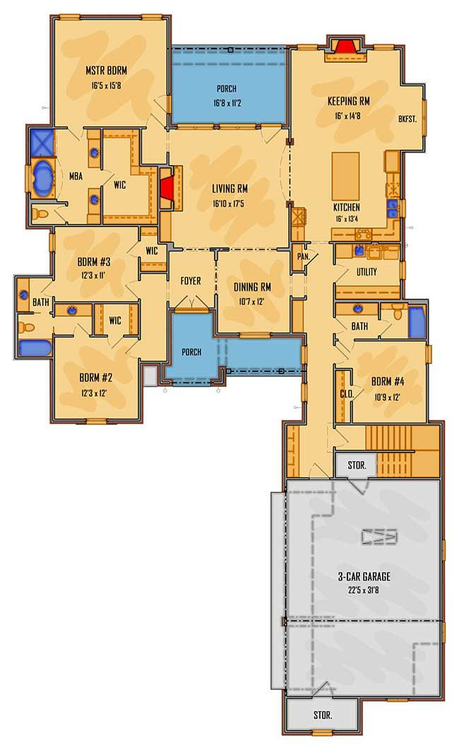 Plan 510048wdy Stunning 4 Bedroom Acadian Home Plan With Optional Bonus Room In 2020 House Plans Farmhouse Floor Plans French Country House Plans