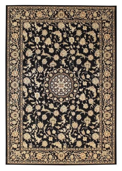Add a vintage touch with the Qetesh Black Traditional Persian Floral Patterned Rug
