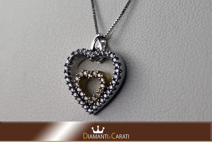 Collana Oro bianco e ciondolo a cuore di Zirconi