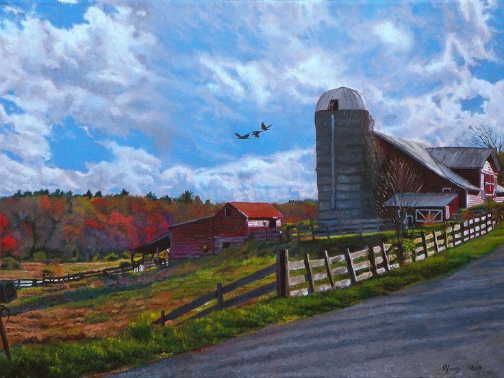 Barns at Rigor Hill Landscape oil painting by Kenneth Young www.kenyoungfineart.com