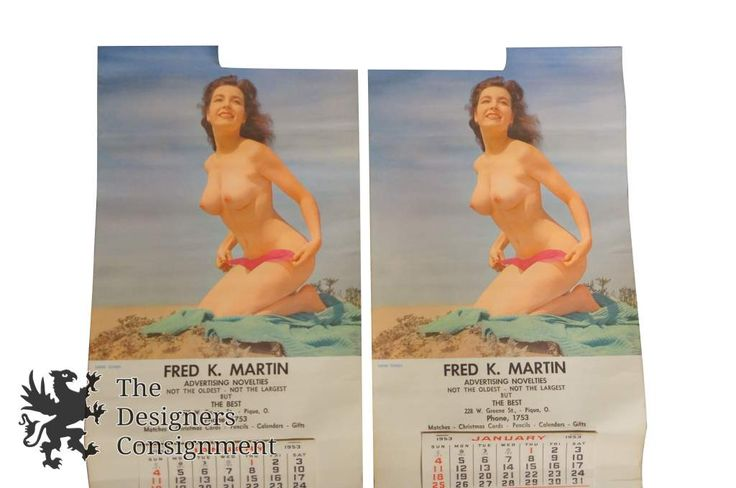 """2 Vintage """"Sand Dunes"""" Top-Less Pin Up Girl Calendars by Fred K Martin 1953 Nude 