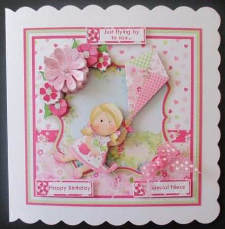 UP UP AND AWAY 8x8 Birthday Girl Mini Kit Decoupage on Craftsuprint designed by Janet Briggs - made by Davina Rundle