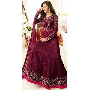 Eye-Catchy Purple Georgette Anarkali Suit.