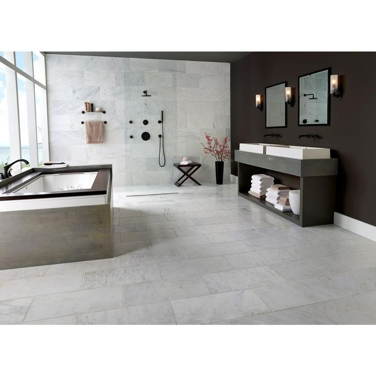 White Marble Bathroom Tile: Greecian White 12 In. X 24 In. Polished Marble Floor And