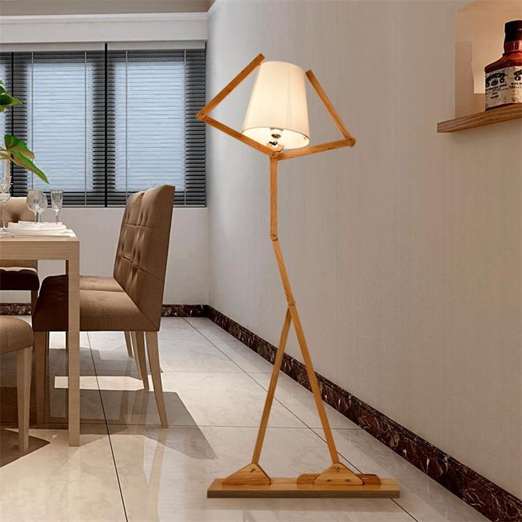 Nordic Creative Wooden Floor Lamps E27 Log Fabric Stand Light Living Room  Bedside Piano Reading Lamp Part 46