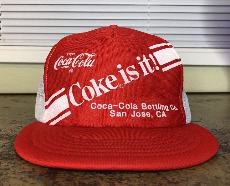 Coca Cola Hat Snapback San Jose Vtg 70s Rare USA Made California 3 Stripe Coke #CocaCola