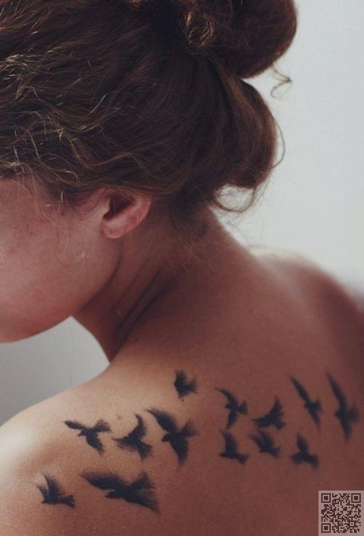 34. #Vogelschwarm - 44 zierlich und #feminin Tattoos... → #Beauty