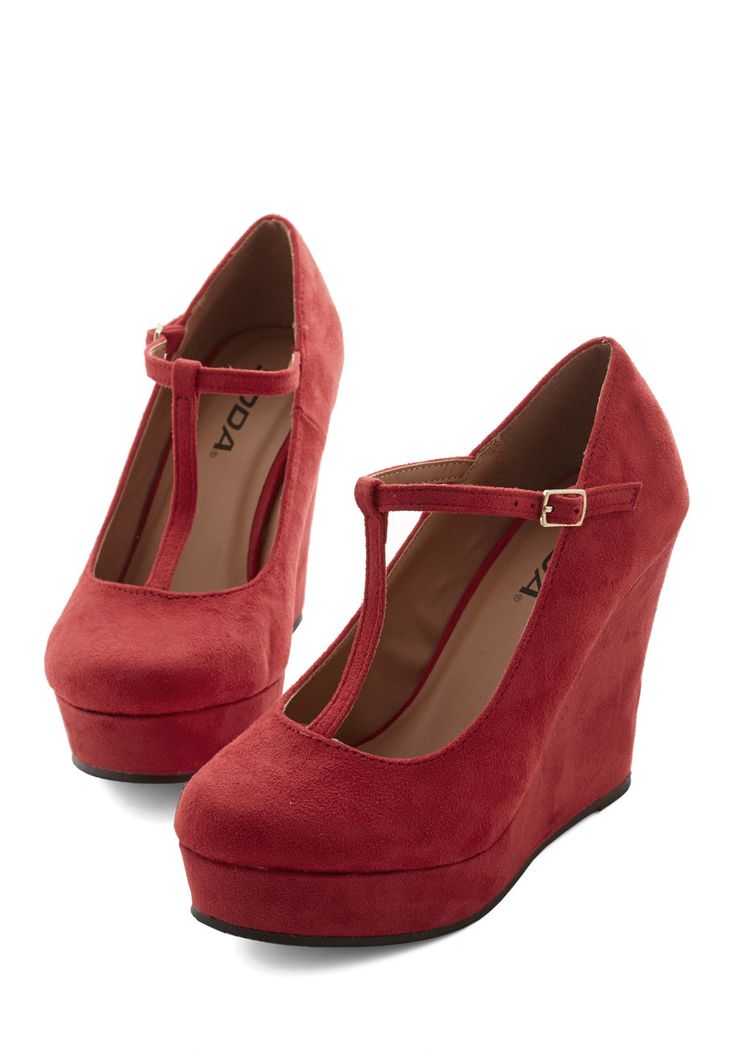 The Funk Never Ends Wedge. Boogieing the night away comes with ease when you're stepping in these cherry-hued T-strap wedges!