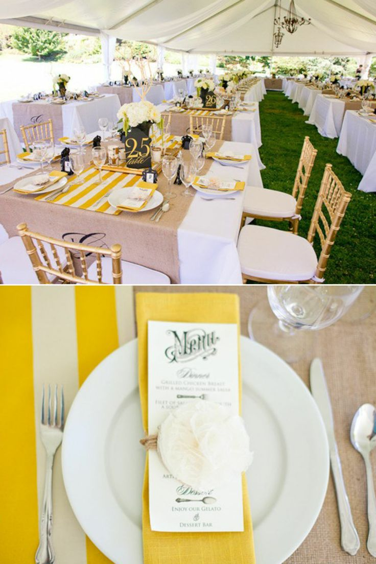 yellow stripes table