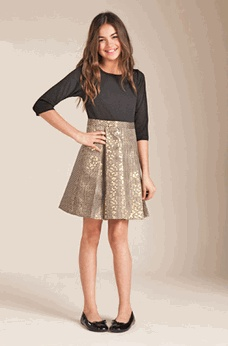 temple girls Blush by Us Angels  Black & Gold Long Sleeve Tween Party Dress sz 10