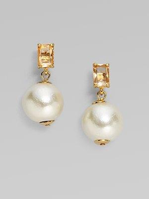 kate spade new york faux pearl earrings on saksfifthavenue.com, $68