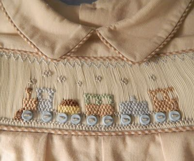 "Love the colors they used in this smocking plate.  Ellen McCarn's plate, ""I Think I Can – Stack!"""