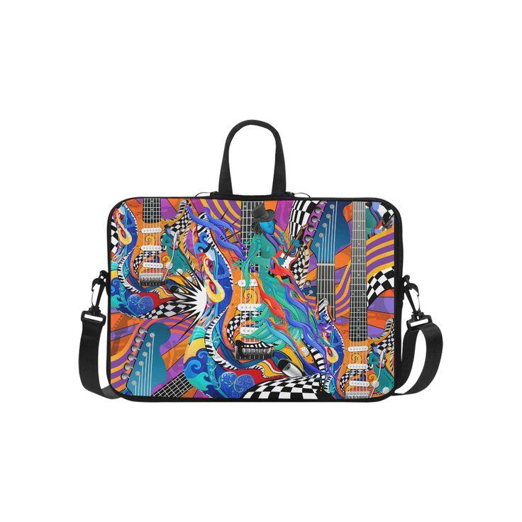 "Rock Band Colorful Electric Guitar Musician Pop Art Print Laptop Handbags 15""."
