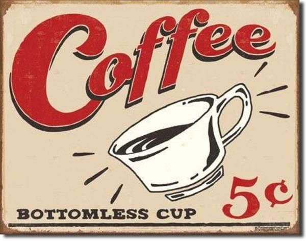 Vintage Coffee Signs | Coffee Sign Bottomless Cup Tin Retro Diner Decor