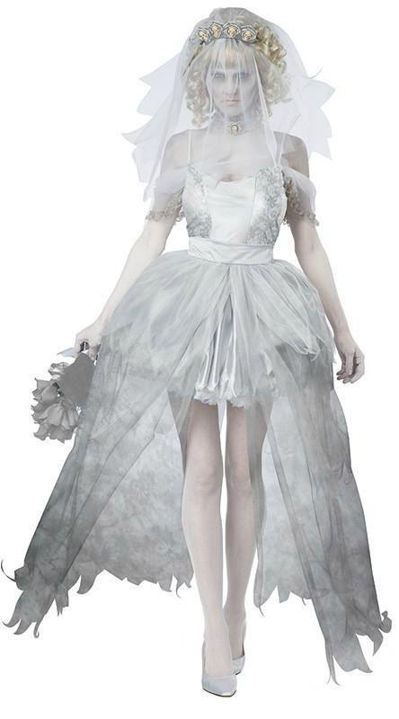 Zombie Costume Halloween Costumes pour femmes robe blanche fantôme mariée robe de mariée jupe robe voile coiffe QP-101(China (Mainland))