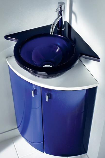 Corner Bathroom Sinks Creating Space Saving Modern Bathroom Design-love this blue YES!