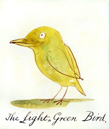 ""\""""The Light Green Bird, from the series of Six Coloured Birds, by Edward Lear (1812-88). Ink & watercolour. England, 1880.""""""362|428|?|en|2|be33983d76b815b2b5b308478753a6b7|False|UNLIKELY|0.35199978947639465