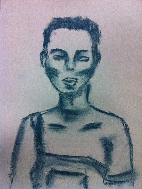 Woman blue dusty chalk