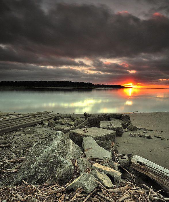 Sunset at Foxton Wharf, Palmerston North, Manawatu-Wanganui Region_ New Zealand