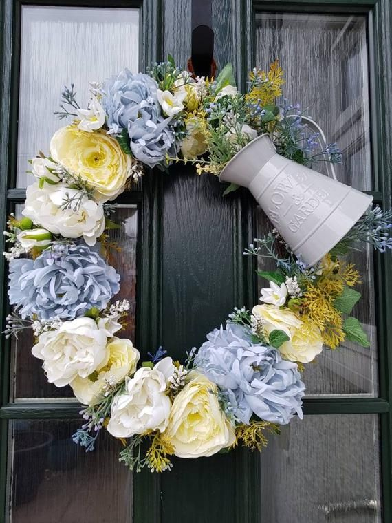 Floral Wreath Flower Wreath Yellow And White Wreath Front Door Decoration Country Chic Rustic Floral Decor Flowers Home Decor Spring Floral Wreath Door Decorations Floral