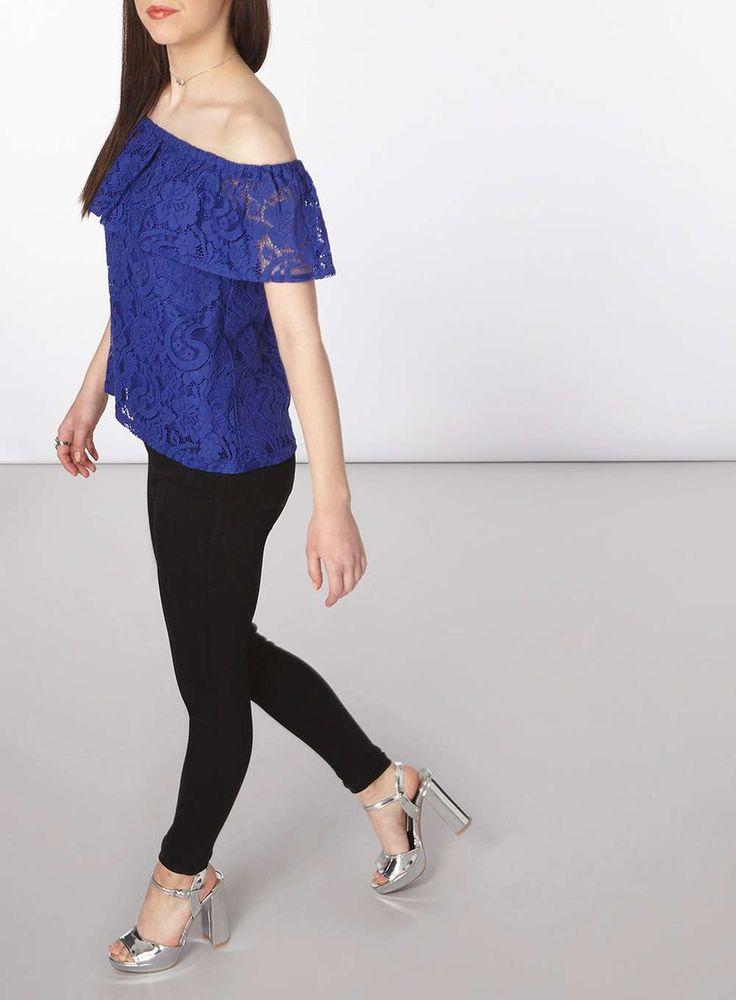 Womens Petite Cobalt Lace Bardot Top- Blue