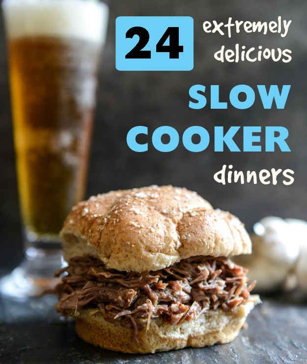 24 Extremely Delicious Slow Cooker Dinners! Must try Pumpkin & Beef Autumn Stew and Brown Sugar & Roasted Garlic Pulled Pot Roast!!