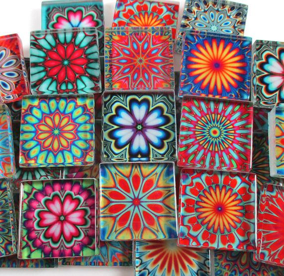 Glass Mosaic Tiles Boho Hippie Tye Dye Medallions Bright