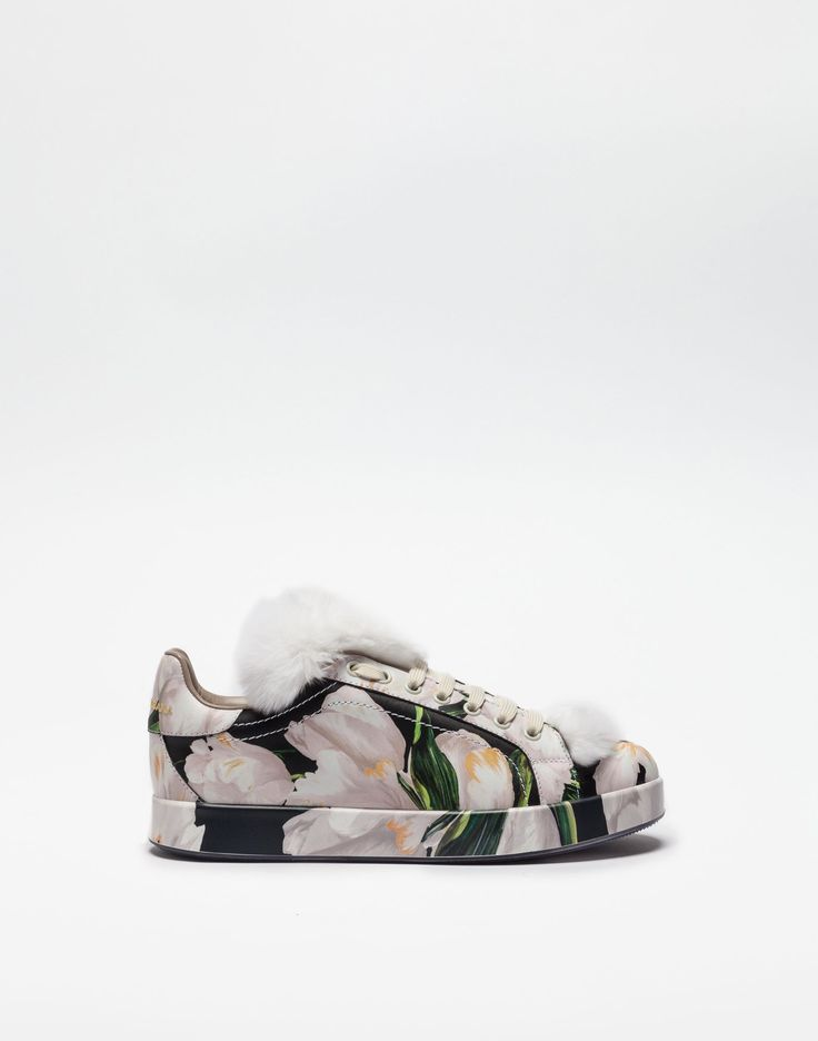 Printed leather and fur sneakers sneakers for women - winter 2016  collection on Dolce&Gabbana online store.