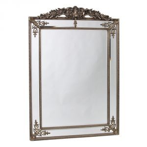 Large French Mirror in Silver with Crest