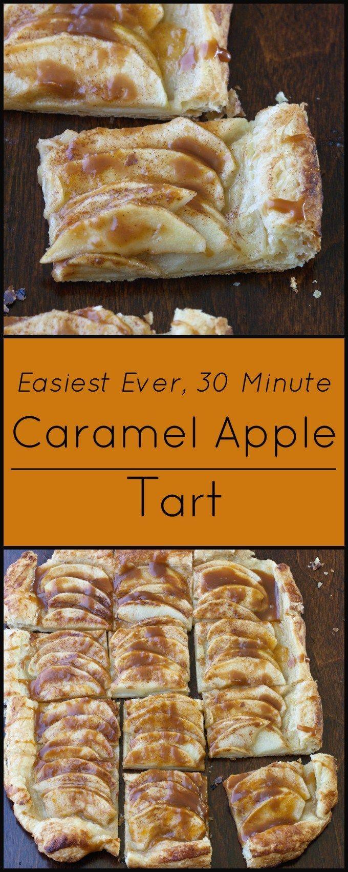 Easiest ever Caramel Apple Tart! 30 minutes, 6 ingredients!