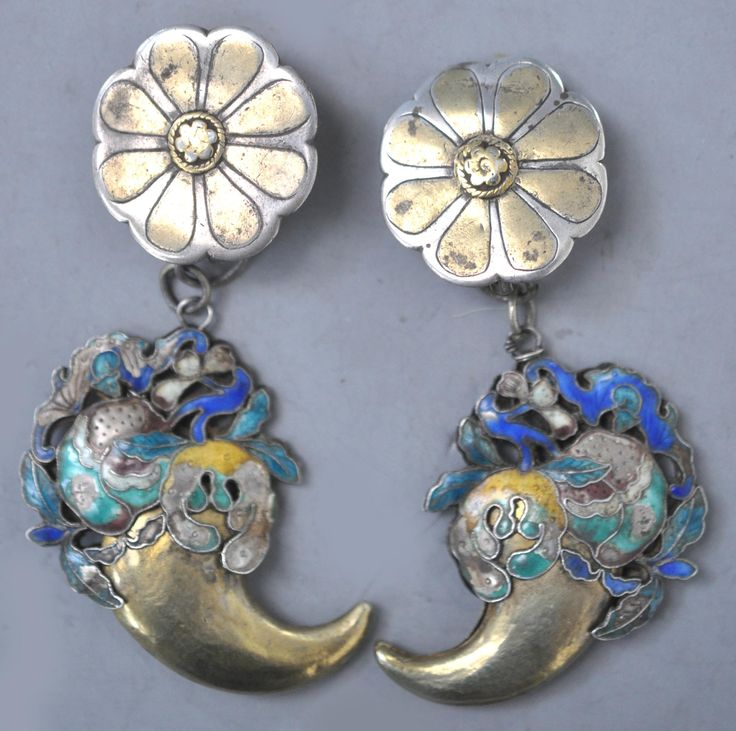 gilt silver with enameling earrings Turkoman tops with Chinese bottoms . 19th c components design by Linda Pastorino
