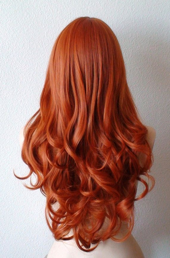 Ginger red wig. Long Wavy hairstyle wig. Durable heat by kekeshop