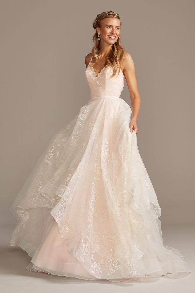 Glitter Floral And Tulle Layered Wedding Dress Style Wg3975 Ivory