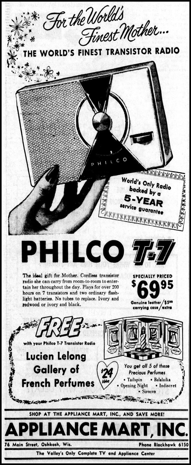 https://flic.kr/p/QHtMRs | Vintage Newspaper Advertising For The Philco T-7 Transistor Radio In The Oshkosh Wisconsin Daily Northwestern, May 10, 1957