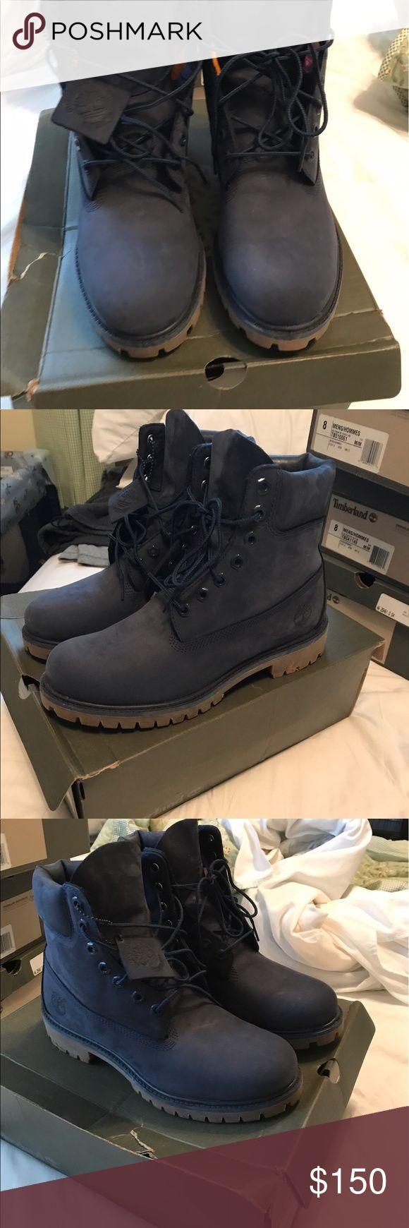 Navy blue timberland boots. Navy blue timberlands. Worn twice. 100% authentic. Size 8. Like brand new. $150 OBO. No low ballers. Timberland Shoes Chukka Boots