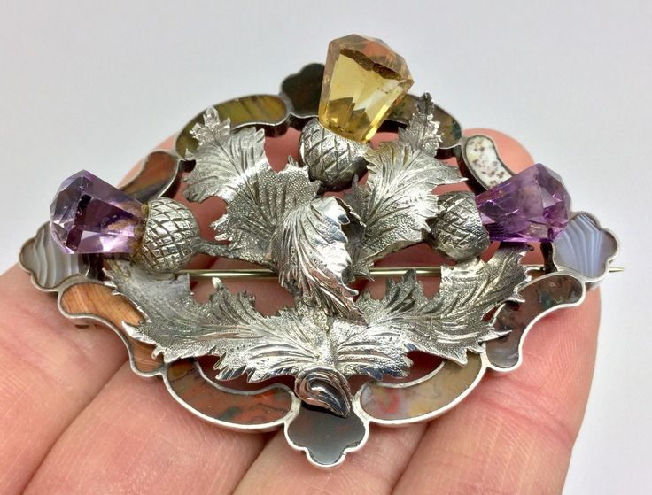 A magnificent and very rare antique Victorian Scottish agate silver brooch with applied thistle decoration set with amethysts and citrineand in excellent pristine condition. The stones used are gold and green moss agates from Burn Anne,green and red bloodstone from the Isle of Rum,grey and white banded Montrose agate,banded and speckled agates from Luthrie in Fife. | eBay!