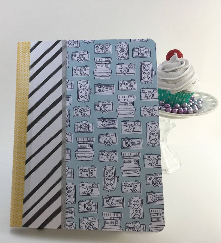 Camera chic notebook, Composition notebook, wide rules notebook, bound notebook by CupcakeSt on Etsy