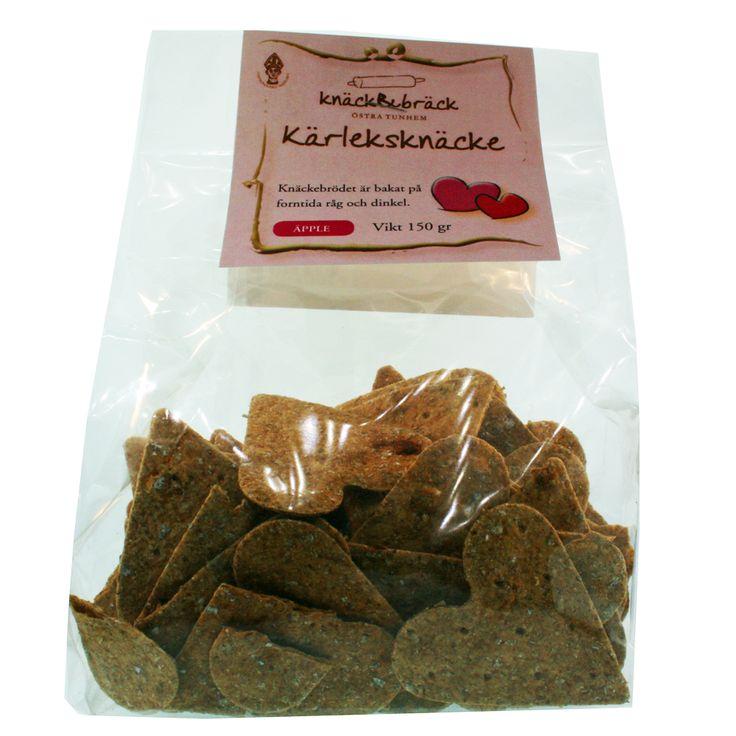 Karleksknacke (Love Crackers) A bag of Heart Shaped Apple Crisp Bread crackers with a hint of passion.  Hard cracker bread - Knack and Brack from Sweden https://www.scandinavianshoppe.com/store/p/1385-Karleksknacke-Crackers.html