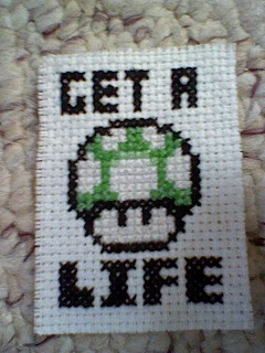 Azay's Video Game Craft Haven: Get a Life cross stitch