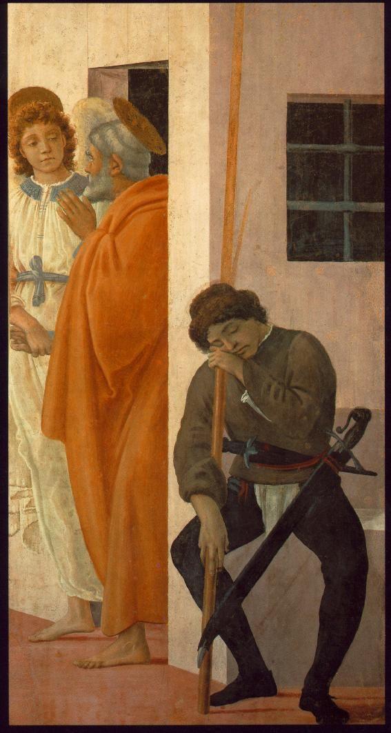 Masaccio. St Peter Freed from Prison (1481-82). Fresco, 230 x 88 cm.Cappella Brancacci, Santa Maria del Carmine, Florence