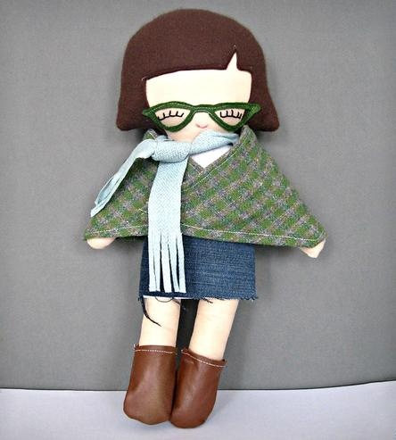 Laura Hipster Girl Rag Doll with Fox Tattoo By Riley Construction on Scoutmob Shoppe. Yep, jean skirt, tattoo, hip glasses and all. $42