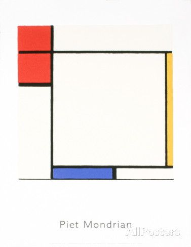 Composition with Red, Yellow, and Blue Serigraph