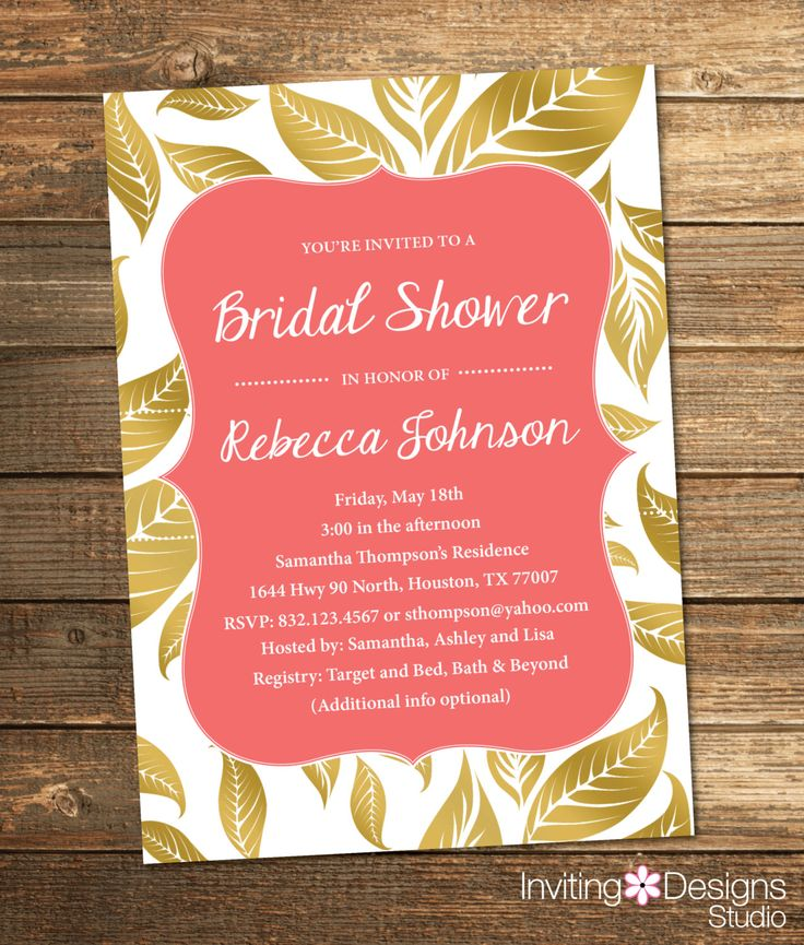 recipe themed bridal shower invitation wording%0A Bridal Shower Invitation  Gold and Pink  Leaves  Fall  Gold  Coral