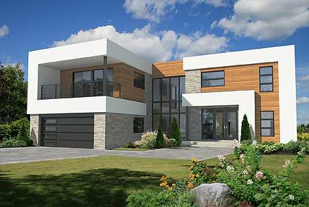 4 Bed Modern House Plan 80882PM with private deck off the second floor master suite.   Plans available in print, PDF and CAD.   Ready when you are. Where do YOU wanted to build?
