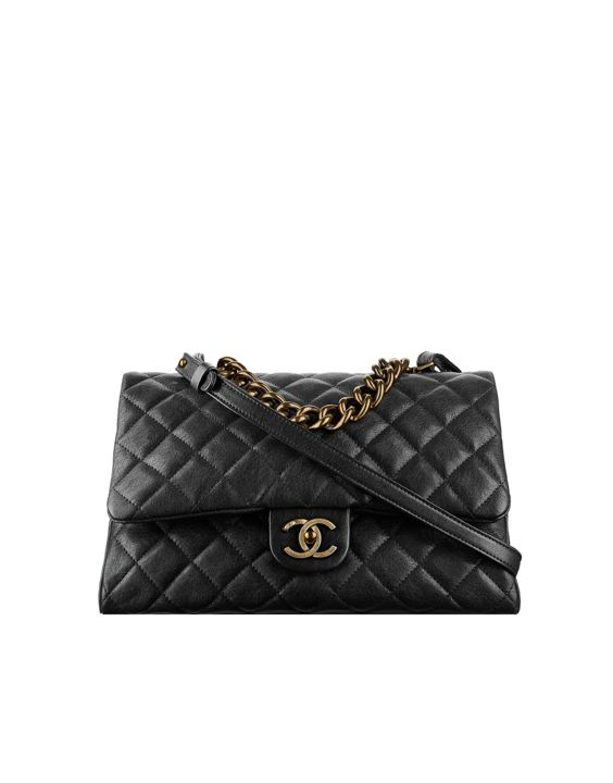 Flap bag with top handle, sheepskin & gold metal-black - CHANEL