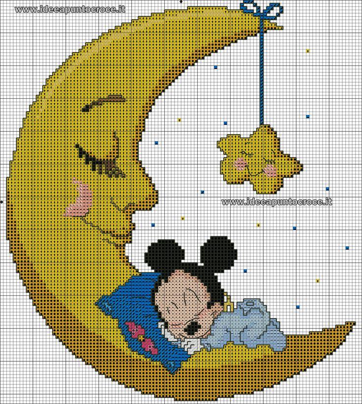 schema baby topolino sulla luna punto croce