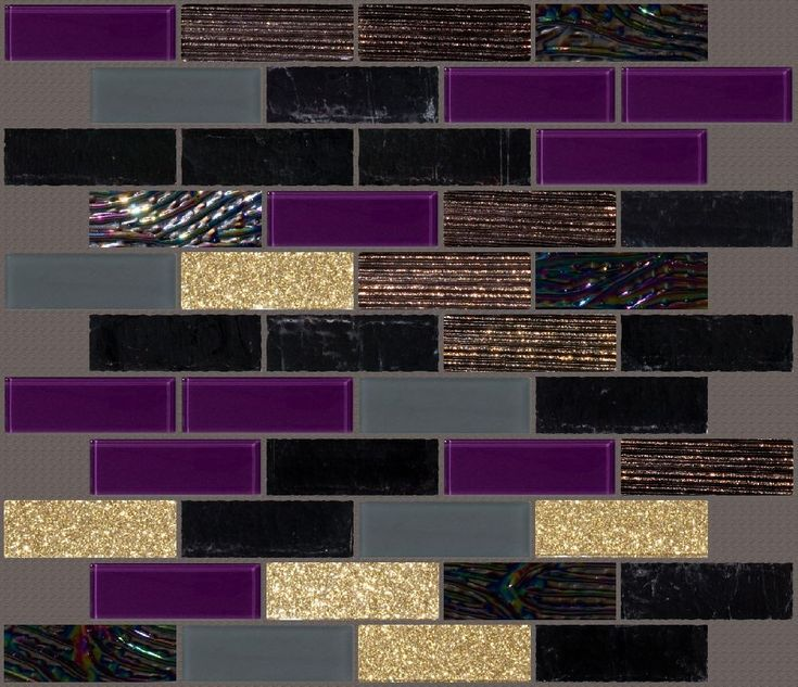Gorgeous custom blend of plum black grey and gold glass subway tiles love the dichroic Purple and gold bathroom accessories