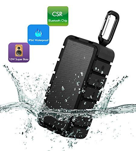 Special Offers - Waterproof Bluetooth Speaker  Ultra Portable Wireless Stereo Speaker  10W Output Power with Enhanced Bass CSR4.0 EDR Compatible Built-in DSP Control Support TF Playing for Outdoor Activities (Black) - In stock & Free Shipping. You can save more money! Check It (July 11 2016 at 08:46AM)…