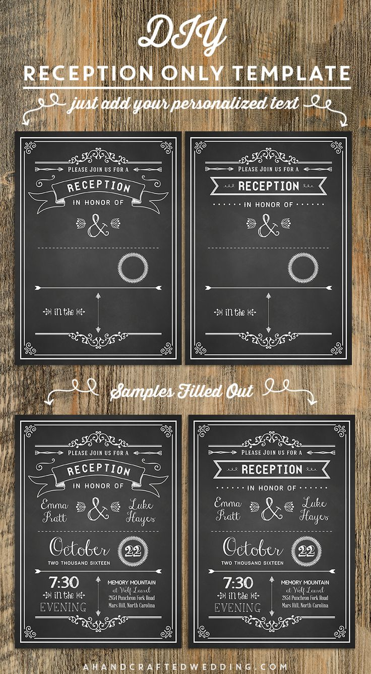 wedding invitation text format for friends%0A Chalkboard DIY Reception Only Invitation